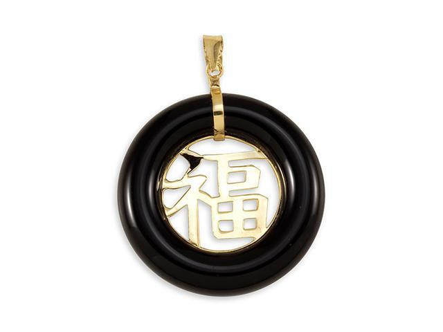 Solid 14k Gold Round Good Luck Black Onyx Pendant