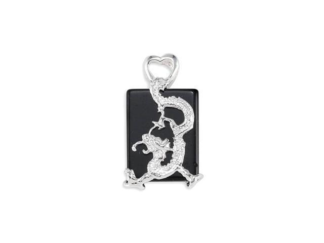 New Sterling Silver Black Onyx Dragon Figure Pendant