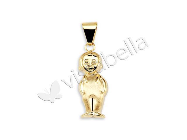 Shiny 14k Bonded Gold Polished Small Boy Charm Pendant