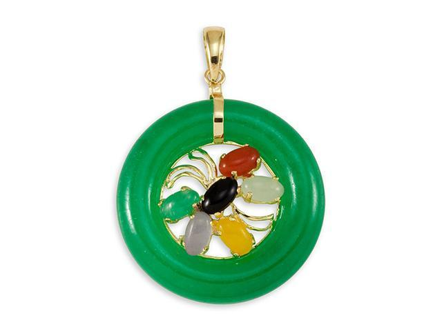 14k Gold Jade Back Onyx Red Agate Mother Pearl Pendant