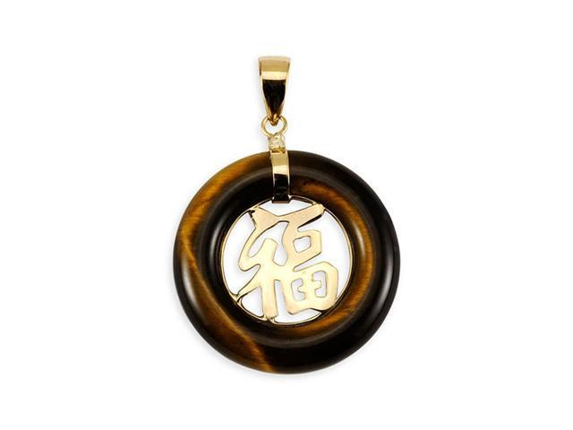 14k Yellow Gold Tiger Eye Chinese Good Luck Pendant