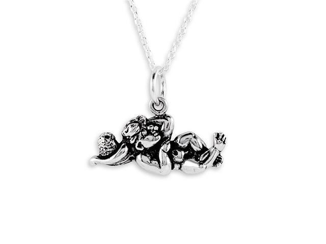 .925 Sterling Silver Engraved Cherub Necklace Pendant