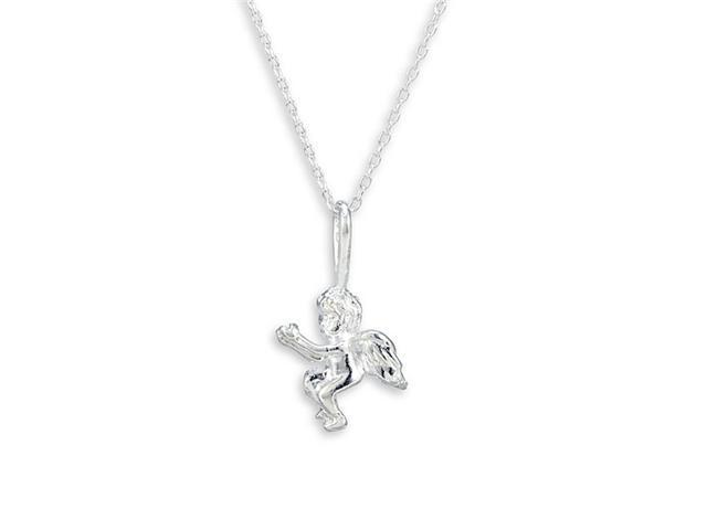 Solid .925 Sterling Silver Angel Pendant Charm Necklace