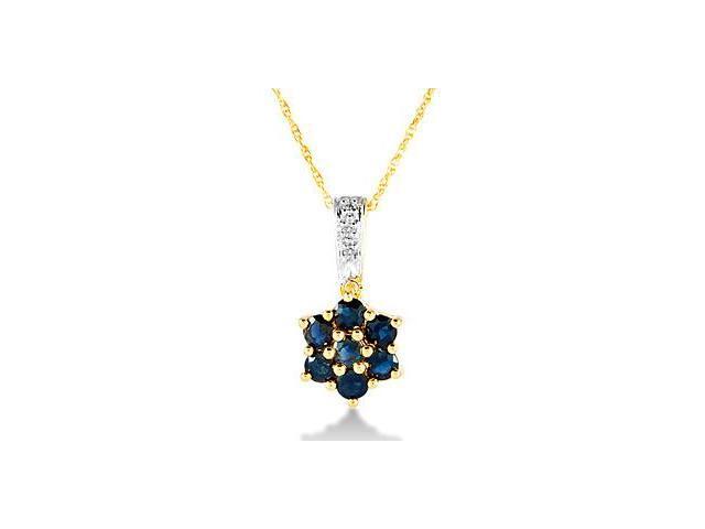 10k Yellow Gold Diamond Blue Sapphire Pendant Necklace