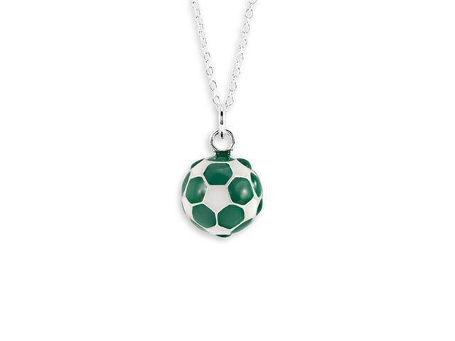 New Sterling Silver Green White Soccer Ball Necklace