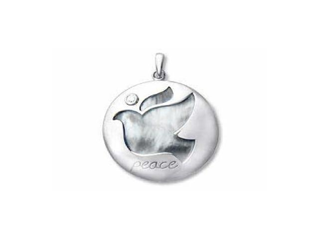 Mother Of Pearl Dove Peace Silver Diamond Necklace