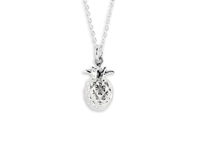 New .925 Sterling Silver Pineapple Pendant Necklace