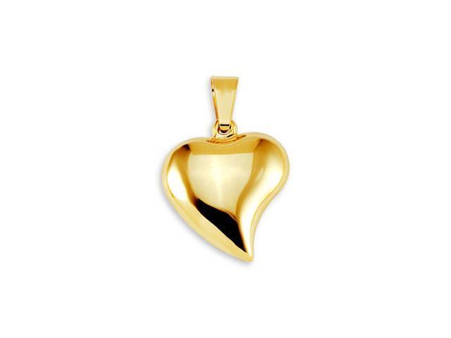 New Ladies 14k Bonded Gold Puffy Heart Charm Pendant
