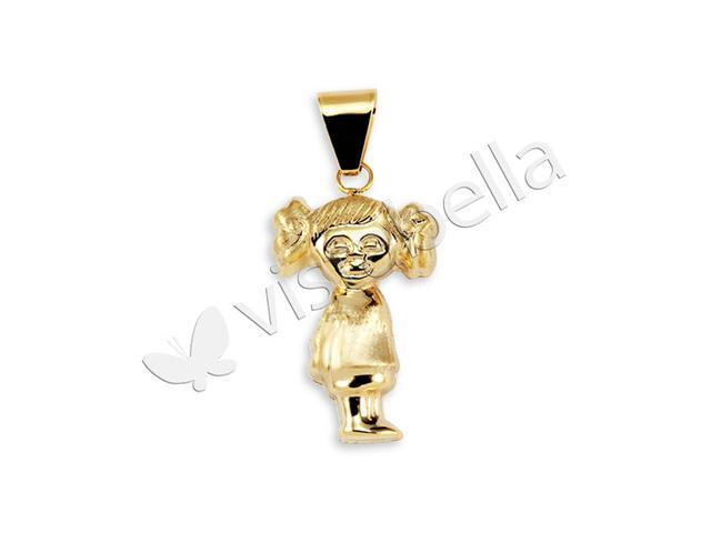 Polished 14k Gold Bonded Shiny Sweet Girl Charm Pendant