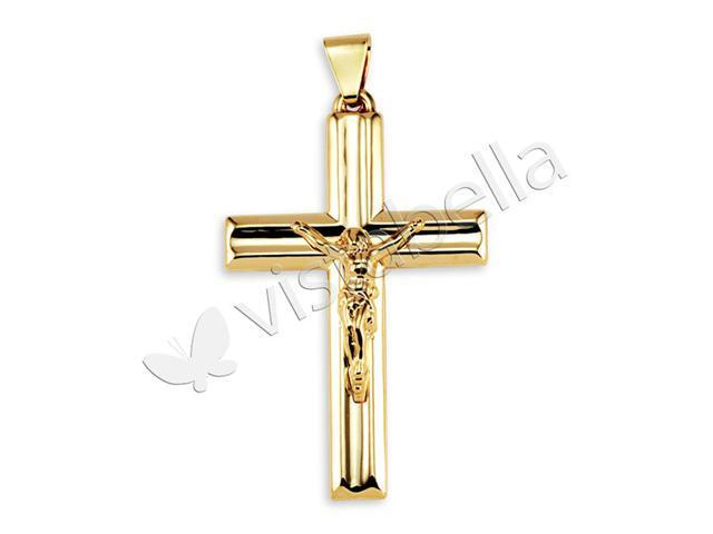 10k Gold Bonded Polished Crucifix Christ Charm Pendant