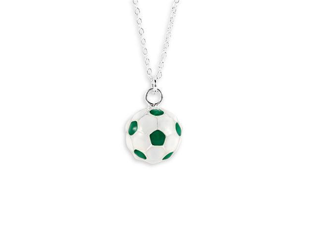 New Green White Sterling Silver Soccer Ball Necklace
