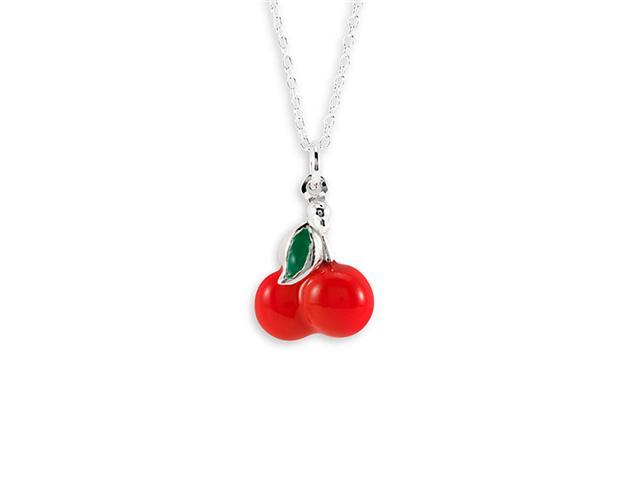 New .925 Sterling Silver Red Cherry Pendant Necklace