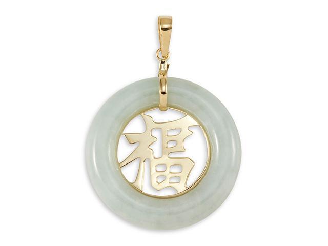 14k Gold Round Luck Natural Light Green Jade Pendant