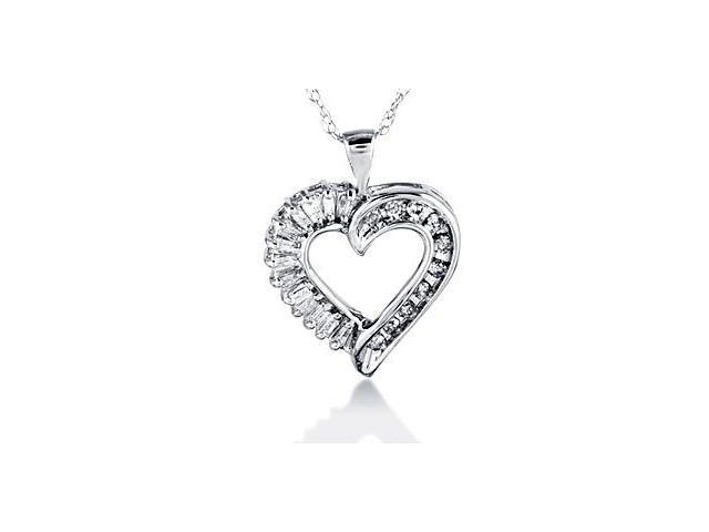 10k White Gold Baguette Round Diamond Heart Necklace