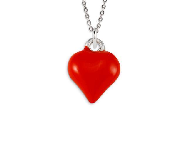 .925 Sterling Silver Red Enamel Heart Love Pendant