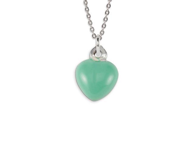 .925 Sterling Silver Light Green Heart Love Pendant