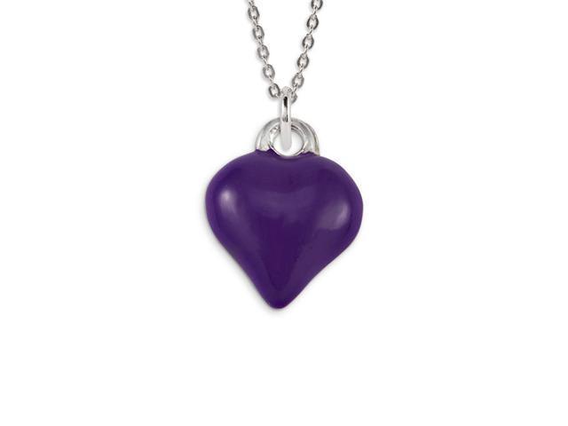 .925 Sterling Silver Purple Enamel Heart Love Pendant