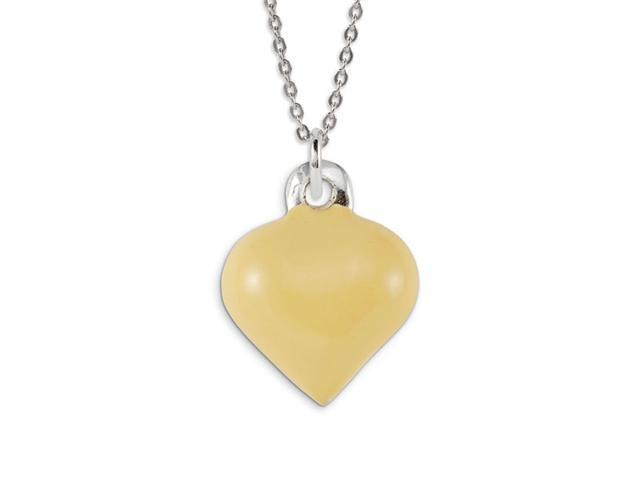 .925 Sterling Silver Cream Enamel Heart Love Pendant