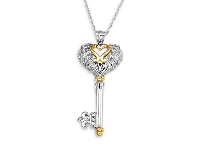 0.08ctw White Sapphire 10k Gold 925 Silver Key Necklace