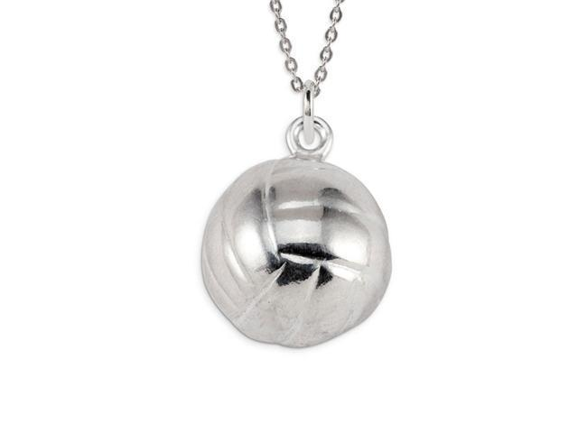 .925 Sterling Silver Volleyball Sports Pendant Charm