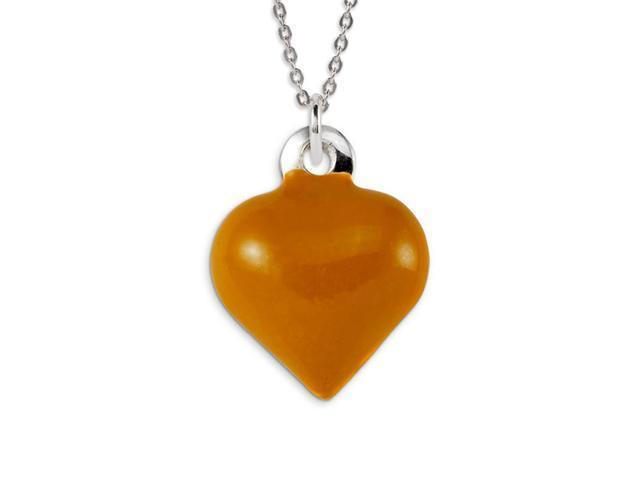 .925 Sterling Silver Brown Enamel Love Heart Pendant