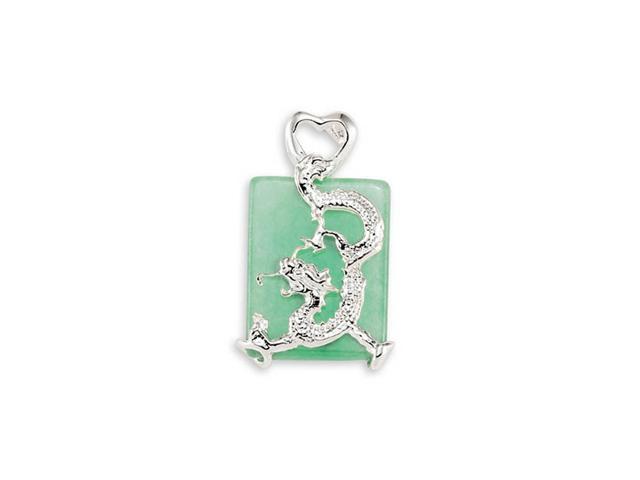 New 925 Sterling Silver Green Jade Dragon Pendant