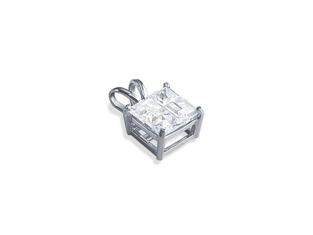 14k White Gold Clear Princess CZ Square Fashion Pendant