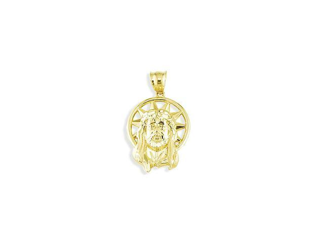 Solid 14k Yellow Gold Sacred Jesus Christ Crown Pendant