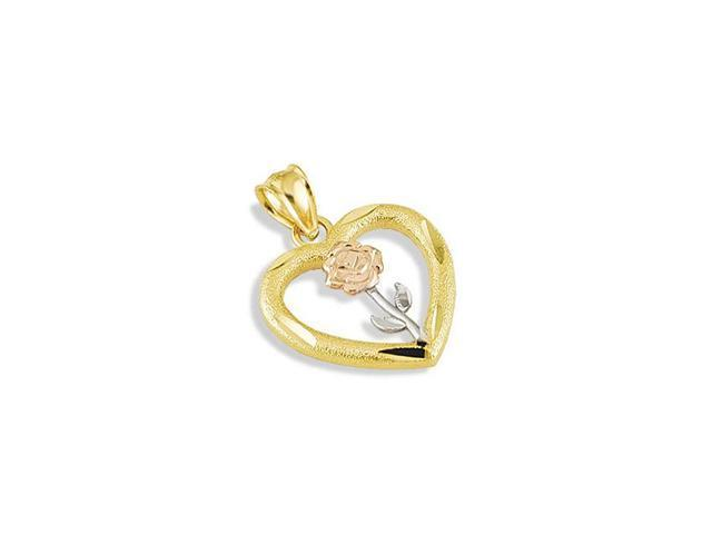14k White Yellow Rose Gold LOVE Flower Heart Pendant