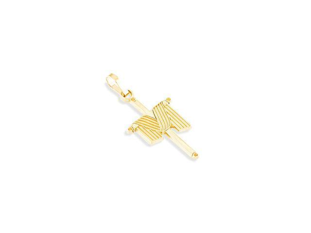 Polished 14k Yellow Gold Draped Shroud Cross Pendant