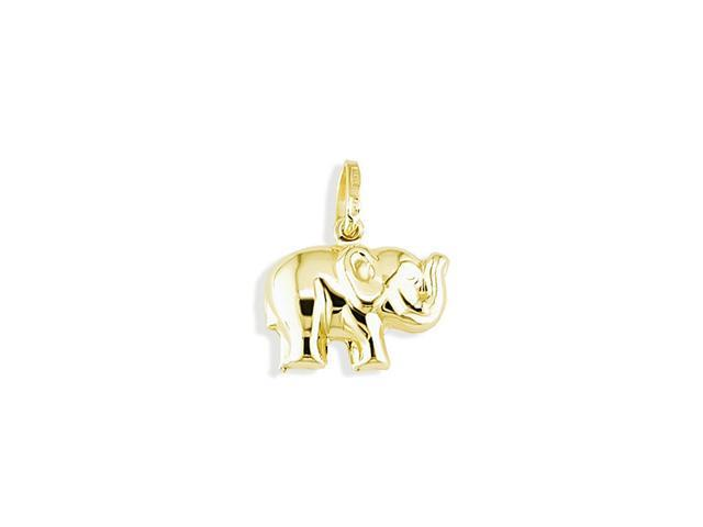 14k Italian Solid Gold Puffy Lucky Elephant Pendant