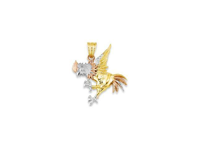 Mens 14k White Rose Solid Gold Fighting Rooster Pendant