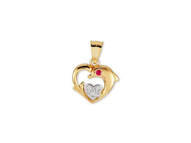 14k Yellow White Rose Gold CZ Dolphin Heart Pendant