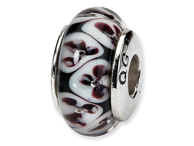 925 Silver Black White Flowers Hand Blown Glass Bead