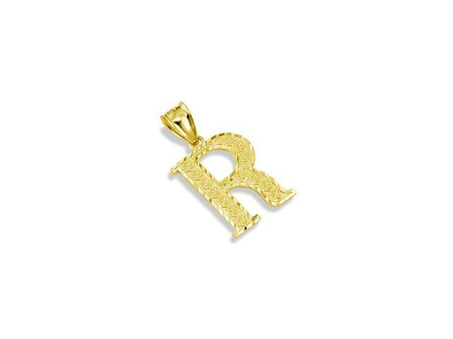 Solid 14k Yellow Gold Name Letter Initial R Pendant