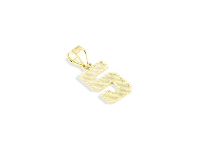 14k Solid Gold Diamond Cut Number #5 Five Charm Pendant