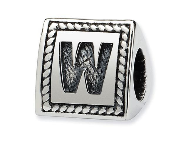 925 Sterling Silver Charm Letter W Triangle Block Bead
