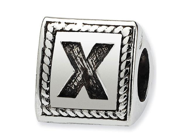 925 Sterling Silver Charm Letter X Triangle Block Bead
