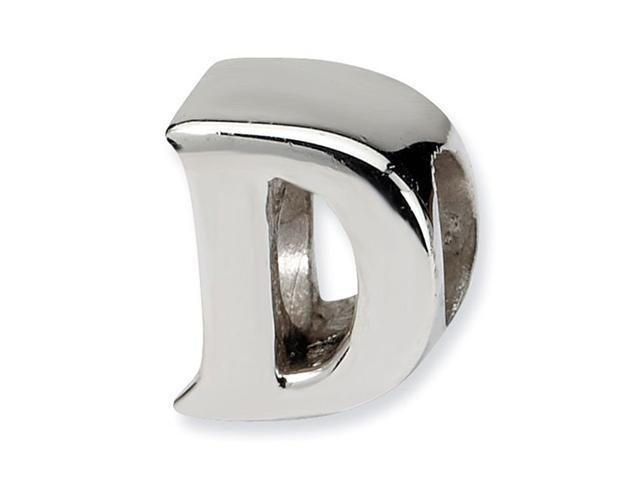 "925 Sterling Silver 7/16"" Charm Letter D Jewelry Bead"