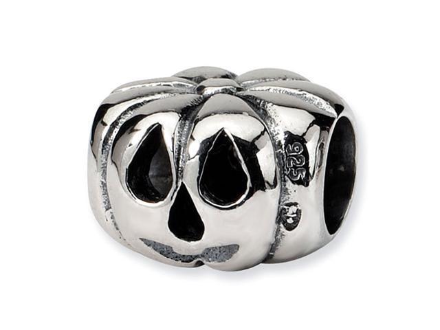 925 Sterling Silver Jack O Lantern  Pumpkin Charm Bead