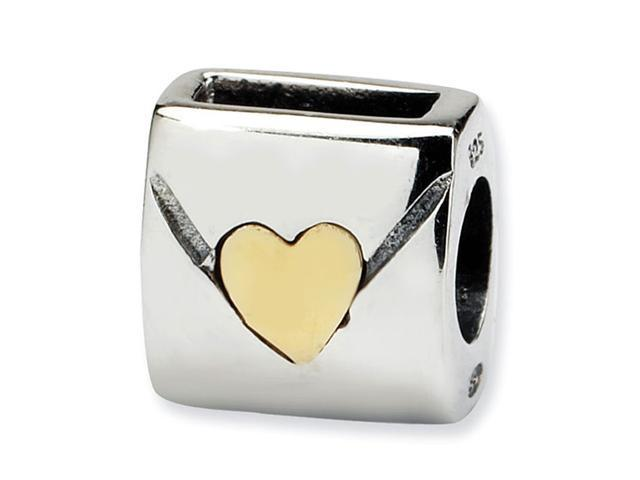 14k Plated Gold 925 Sterling Silver Love Note Bead