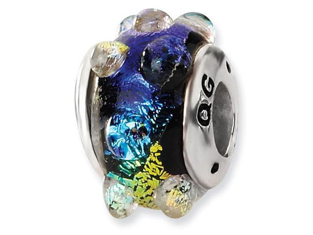 925 Silver Rainbow Bubbles Dichroic Glass Jewelry Bead