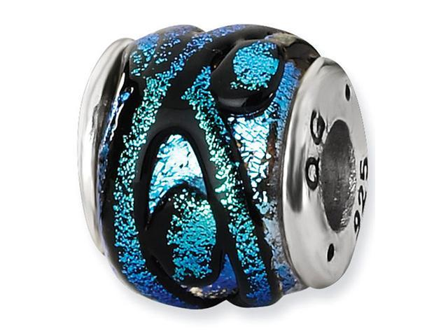 "925 Silver 3/8"" Blue Dichroic Glass Charm Jewelry Bead"