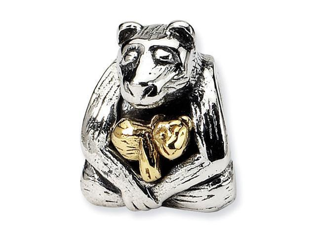 Plated 14k Gold 925 Sterling Silver Bear Cub Charm Bead