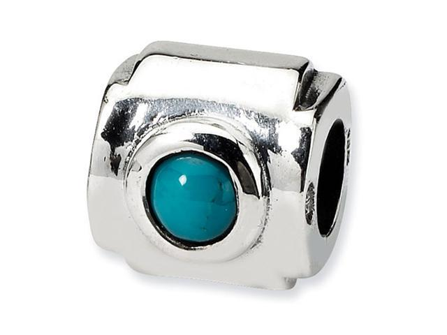 Solid 925 Sterling Silver Round Turquoise CZ Charm Bead
