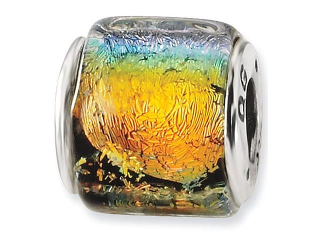 925 Silver Wide Multicolor Dichroic Glass Jewelry Bead