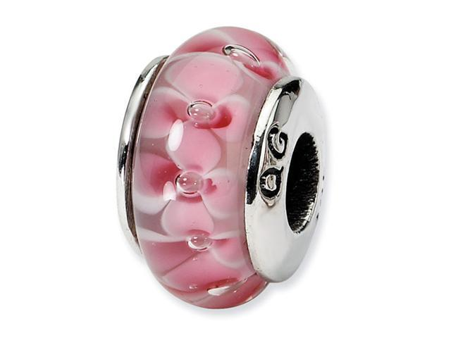 "925 Silver Hand Blown Glass 1/4"" Pink Flower Charm Bead"
