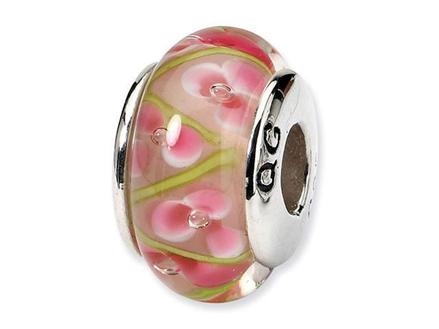 "925 Silver 1/4"" Pink Green Floral Hand Blown Glass Bead"