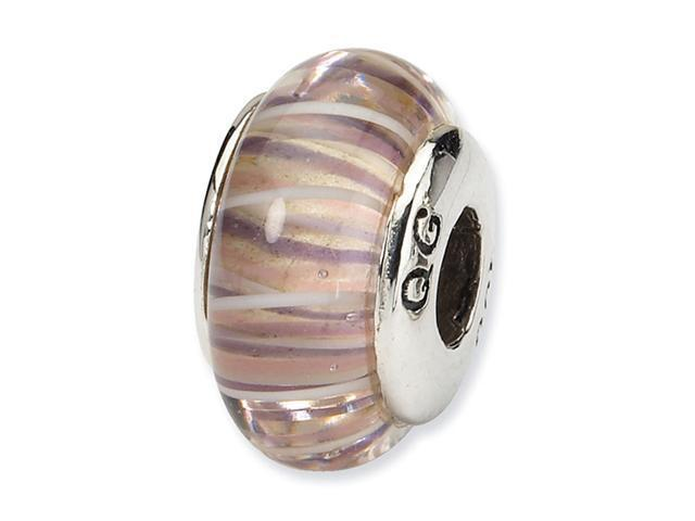 925 Sterling Silver Multicolor Stripe Charm Glass Bead
