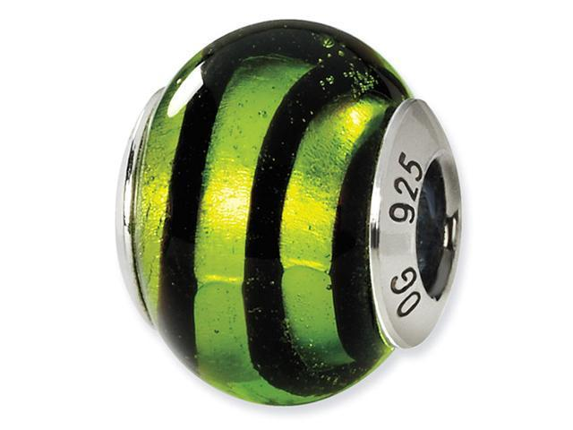 925 Silver Green Black Stripes Murano Glass Charm Bead